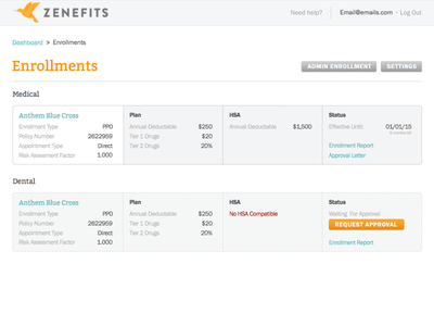 Zenefits Design Challenge medical design challenge zenefits dashboard