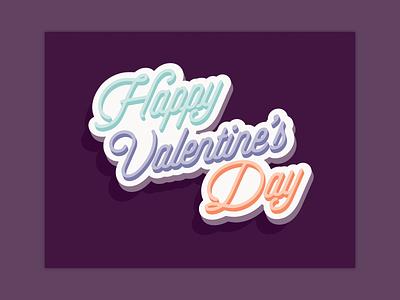 Happy Valentine's Day v-day plum valentines card script illustrator vector valentine valentines day card