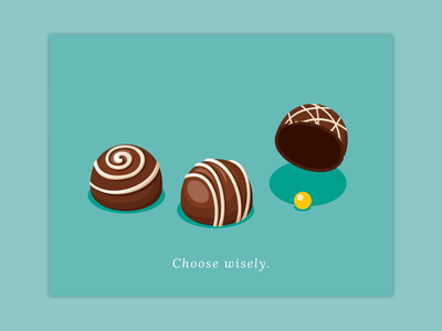 Choose Wisely gamble luck chocolate valentines day v-day valentine valentines card card teal illustration vector