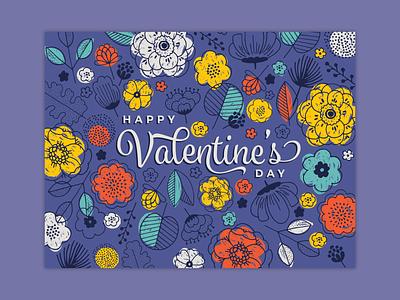 Valentine's Day Card flowers v-day valentines day card valentines day valentine card illustration