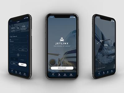 Jetlinx Mobile App mobile app ui  ux interactive flight private jet mockup phone mobile app travel plane jet