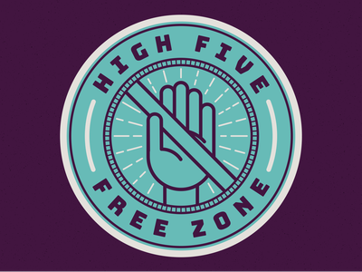 High Five Free Zone quarantine self isolation social distance social distancing high 5 high five hand corona coronavirus covid 19 covid-19 covid19 badge vector illustration