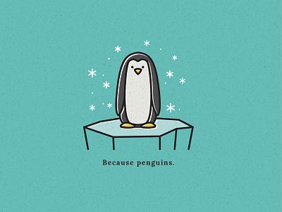 Because Penguins! holiday card holidays vector illustraion ice flurries snow winter iceberg penguin