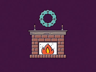 Fire Side! vector illustration candles wreath holiday card holidays mantle hearth fire flames