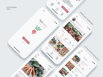 "Mobile App ""RedRadish"" illustrator design logo interface mobile app web designer illustration ui ux figma"