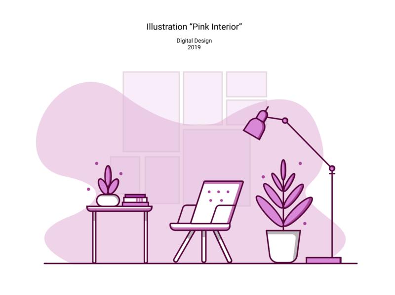"""Illustration """"Pink Interior"""""""