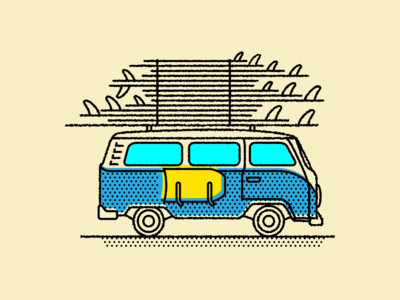 VW surf van illustration.