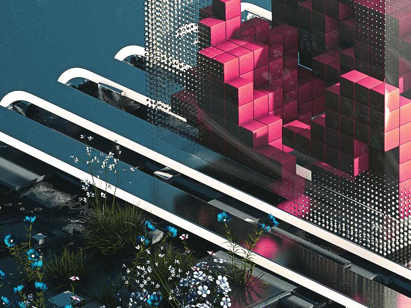 DIVAMOSH inspiration everyday render daily rock glass future abstract landscape smoke cinema4d 3d