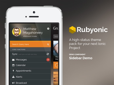 Rubyonic Sidebar ionicframework mobile app ui pack