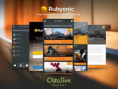 Rubyonic now on sale (Creative Market) ui pack mobile ui ios7 ios android ui mobile app design