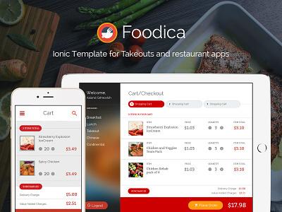 Foodica Cart Screen (Mobile & Tablet) food app ui food ui mobile app design mobile app ui ionic ionicframework