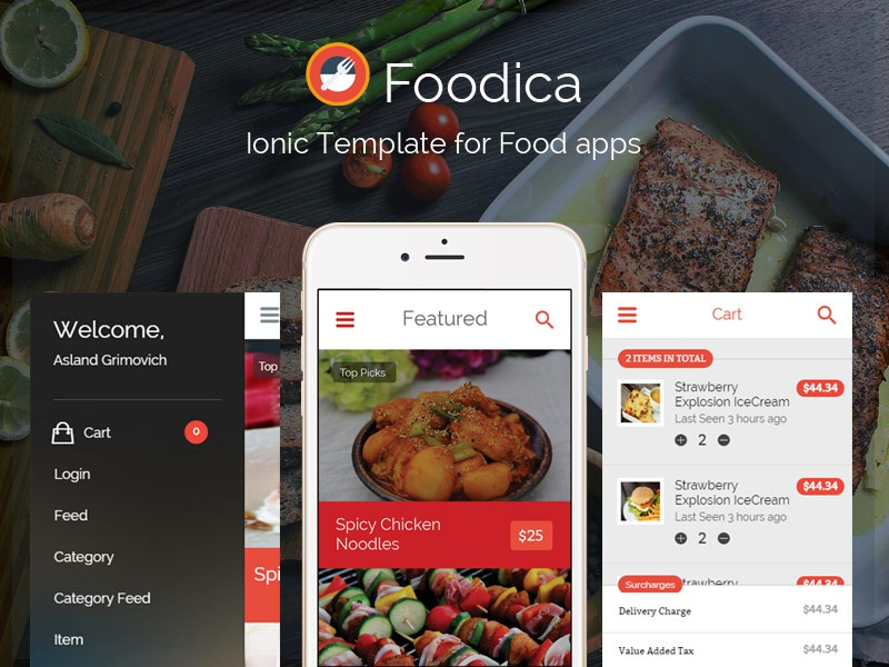 Foodica IonicFramework theme for food apps now available by Mojugbe
