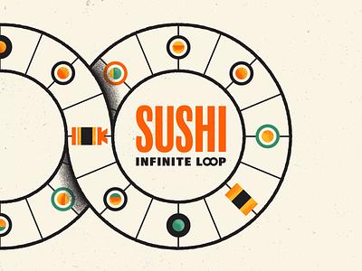 Sushi Infinite Loop sushi roll sushi logo sushi motion graphics motion design loop animation japanese food food japenese japan animation