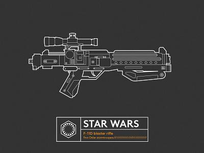 Famous Gun_STAR WARS lineart illustrator starwars gun
