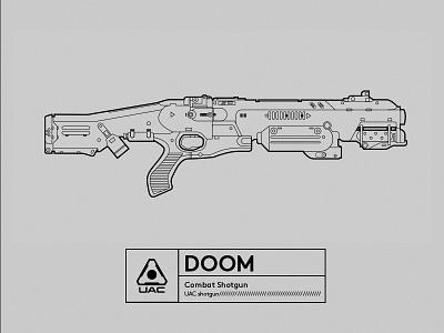 Famous Gun_DOOM lineart illustrator doom gun