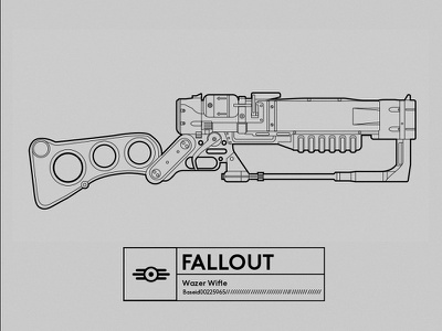 Famous Gun_FALLOUT vector illustrator lineart fallout gun