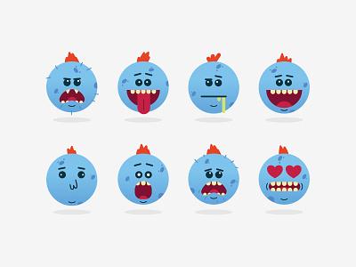 Mr Meeseeks Emojis cute emoticons morty rick illustration icons affinity emoji