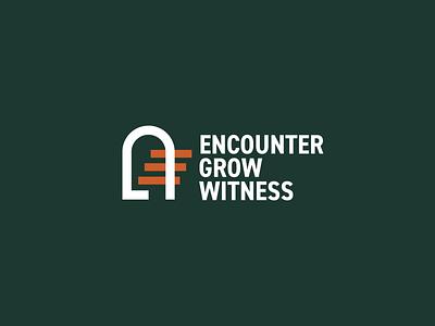 Branding for Encounter Grow Witness negative space gospel detroit catholic witness grow encounter door gate branding brand logo stairwell stairs