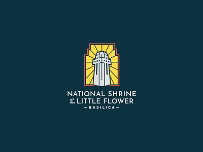 Brand for the National Shrine of the Little Flower Basilica long name tower little flower catholic branding logo basilica shrine