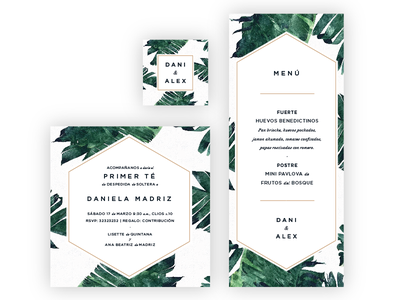 Bridal Shower Stationery banana leafs event invitation menu stationery wedding bridal shower