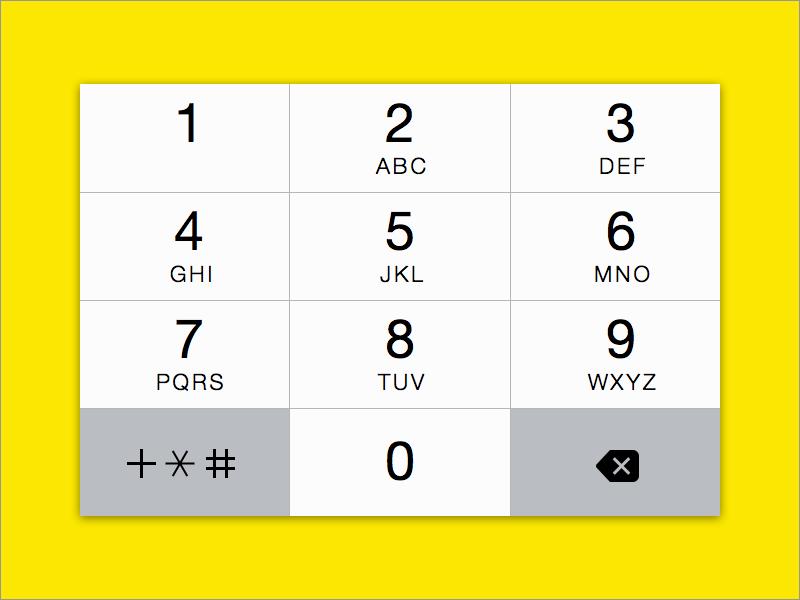 Numerical keyboard for iOS 7 (Sketch) sketch freebie ios7 numerical keyboard iphone vector