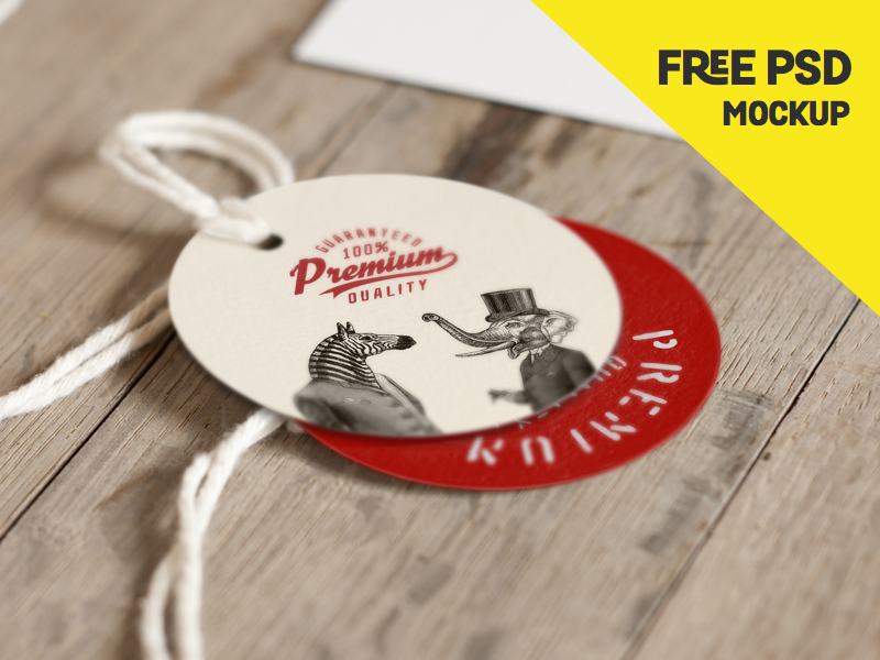 Label Mockup Freebie smart object wood vintage tag psd mock-up mockup label freebie free