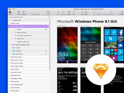 Designing Windows Mobile 8.1 UI KIT in Sketch sketchapp phone mobile microsoft kit gui vector sketch ui mockup