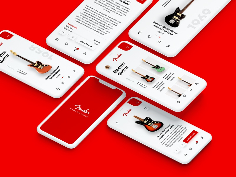 Fender Mobile App Concept Design app mobile mobile ui interfacedesign uiux guitarapp guitar mobiledesign uidesign