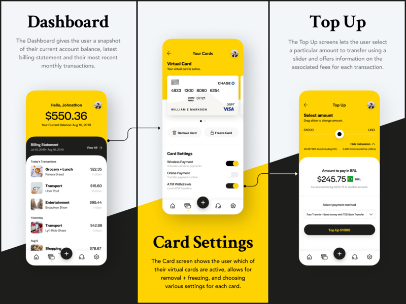 Virtual Card App User Flow credit cards fintech app fintech mobile app uxui ui mobile mobile design wjystudios