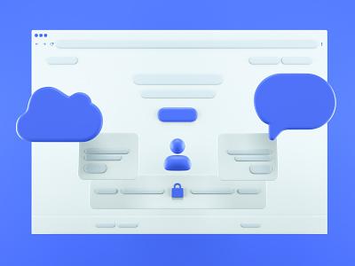 Landing Page 3d Experiment browser blocks message cloud landing page design ui desktop design screen bubbles render octane 3d illustration webdesign website landing page ui landing page