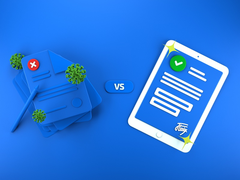 """ 📑Paper vs Mobile Forms"" Illustration"