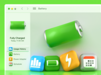 Apple BigSur Battery 3d Icons Concept page calendar blender 3d charger settings window schedule power ios14 ios iconography icon design icon concept blender battery illustration bigsur app 3d