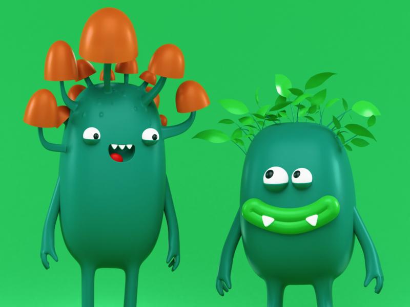 MyTrees 3d Characters leaves mytrees brand character mushrooms render mascot brand branding green trees blender 3d cinema 4d blender 3d artist characters model character design illustration 3d