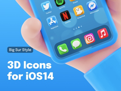 3D Icons for iOS 14 devices 🤙 appstore phone messages snapchat instagram system icon blender 3d ios render design ui icon set icon blender big sur ios14 icons pack illustration 3d