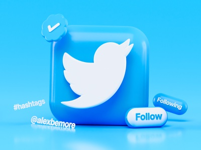 Twitter 3d Icon Concept hashtags bird blue follow icon design icons pack blender 3d twitter icon twitter icons iconography app icon ios blender ui design render illustration 3d