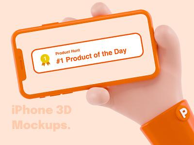 iPhone 3D Mockups – #1 Product of the Day on Product Hunt graphics iphone mocks figma sketch productoftheday producthunt mockups app blender 3d ios ui design render illustration 3d