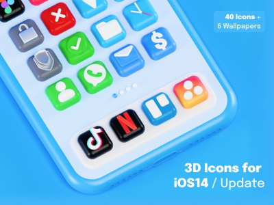 Update of 3D Icons for iOS 14 devices 🤙 icon designs iphone wallpapers tiktok netflix 3d icon big sur ios14 icon set icon design icon app ios blender 3d blender ui design render illustration 3d
