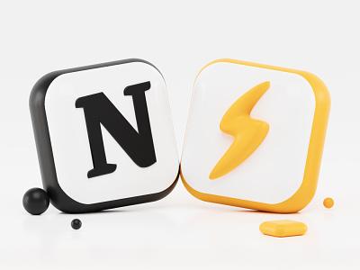 Super + Notion 3d Icons ios webdesign webpage icons black yellow thunder super notion icon design iconography icon app blender 3d blender ui design render illustration 3d