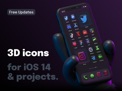 3D Dark Icons for iOS 14 and Personal Projects 🖤 iphone instagram twitter 3d icons ios14icons ios14homescreen icons dark ios14 iconset icon app ios blender 3d blender ui design render illustration 3d