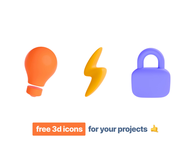 Free 3d Icons for your Projects – vol.1 illustration animation secure electricity idea safety lock thunder bulb render 3d animation icons pack iconset freebies freebie free webdesign illustrations icons 3d