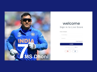 Sign in to Live Score blue india 7 ms dhoni live score photoshop live app score card score app mobile app minimal ui ios app flat ui cricket ui cricket mobile app cricket match ui cricket match cricket app
