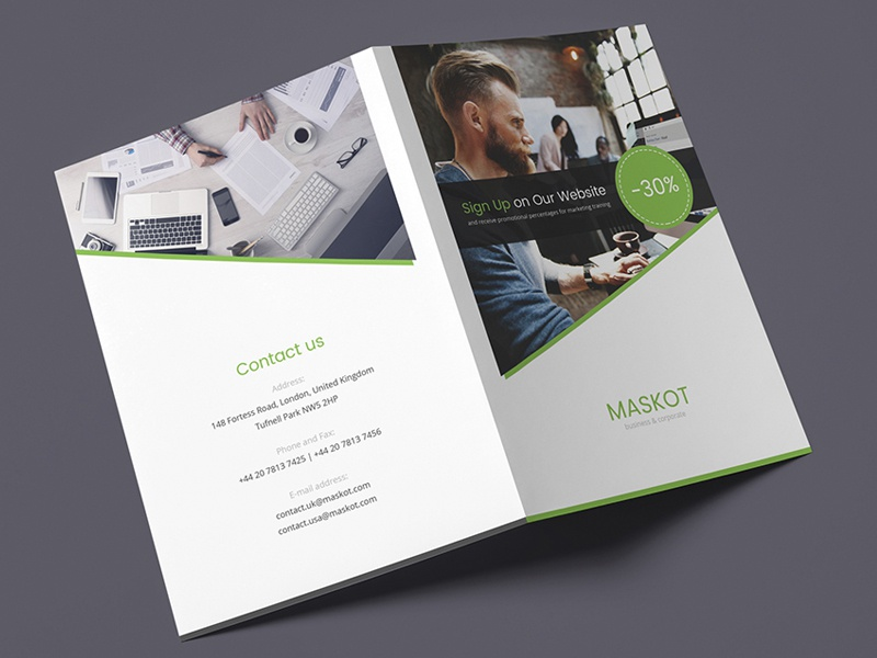 Maskot Business And Corporate Brochure Bi Fold Psd Template By