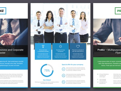 ProBiz – Business and Corporate Flyer Double Sided PSD Template psd template work offer multipurpose colorful brochure poster flyer creative agency creative corporate business