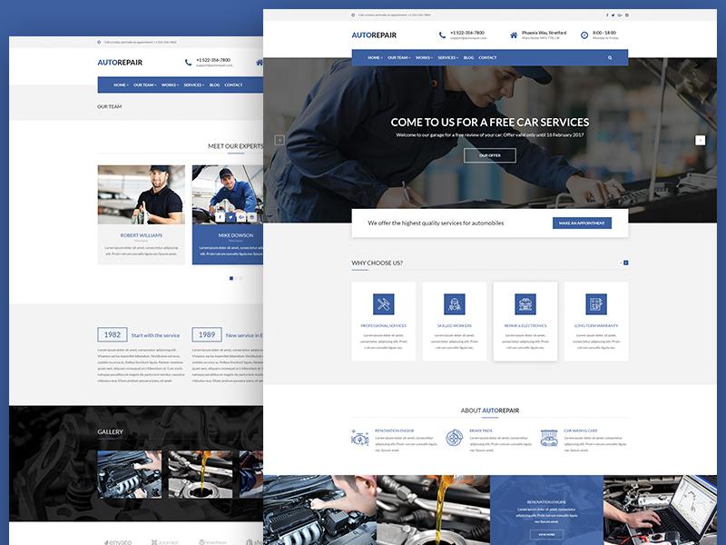 AutoRepair Car Mechanic PSD Template For Workshop Industry Garage Auto Shop Corporate