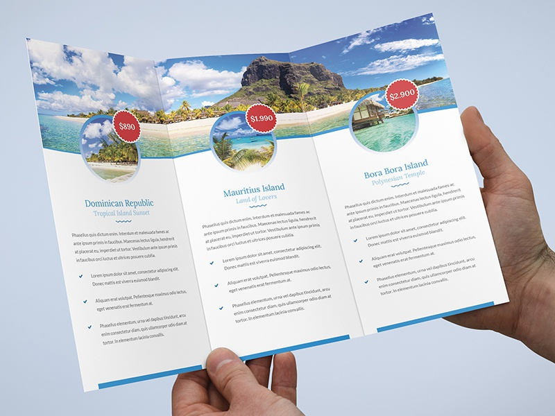 brochure travel agency tri fold template by artbart dribbble