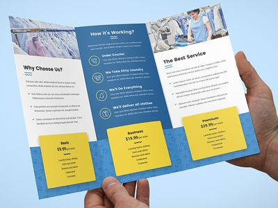 Brochure Laundry Tri Fold Template By Artbart Dribbble