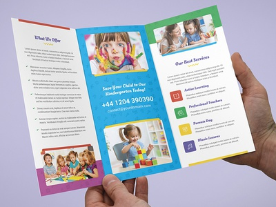Brochure  Kindergarten TriFold Template By Artbart  Dribbble
