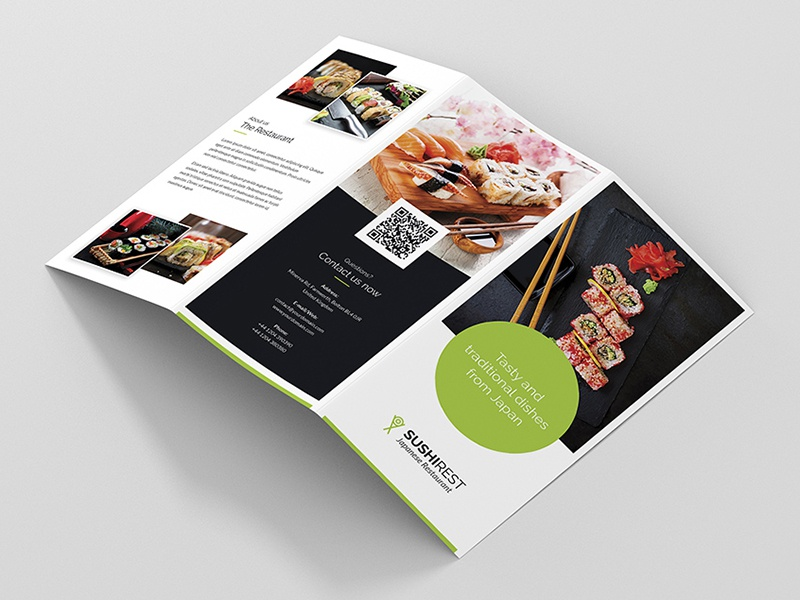 brochure sushi restaurant tri fold print template by artbart