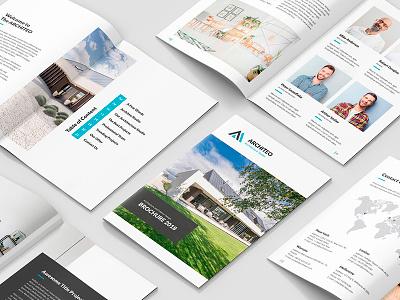 Architeo – Architecture and Interior Brochure A5 studio creative agency portfolio corporate business indesign template theme template print brochure architect architecture