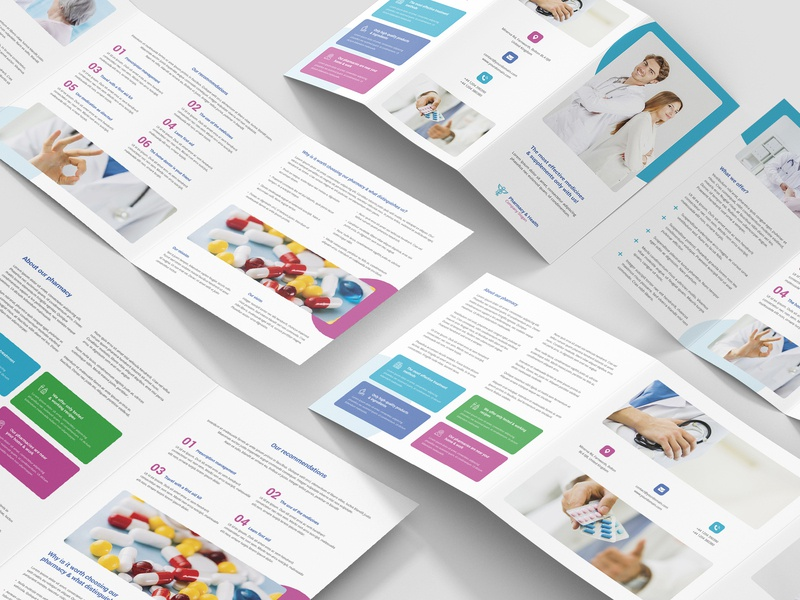 Pharmacy – Brochures Bundle Print Templates 5 in 1 spa health flyers clinic services doctor clinic medical care medical photoshop templates print templates brochures pharmacy